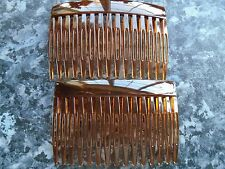 Pack 2 Tort Brown hair combs 7cm plastic budget slides black clear comb grip