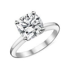2.07CT 14k White Gold Cushion Cut Moissanite 4 Prong Solitaire Engagement Ring