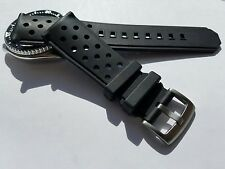 22mm Breathable Black Silicone Rubber Watch Band Strap for Dive Scuba Watch