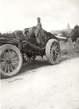 WWII German RP- Artillery- Large Heavy Howitzer- Gun and Caisson along Road- 40s