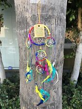 "4"" Dream Catcher Rainbow Colors with Feather Wall Hanging Decoration 18"" Long"