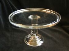 Vintage Clear Pressed Glass Footed Pedestal Cake Plate Stand 5 7/8 inches tall