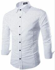 Men's Luxury Casual Slim Fit Stylish Formal Dress Shirts Wave point Long Sleeve