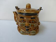 Vtg Colonial Face Amber Teapot w/Lid Old Man Face Green Glasses Bowtie Japan