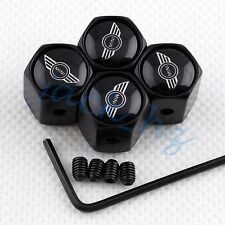 BLACK Wheel Tire Tyre Valve Stem Cap FOR CLUBMAN COUPE PACEMAN S