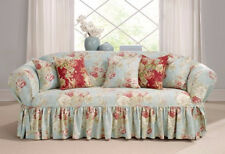 Sofa Robins egg blue  Sure Fit Ballad Bouquet One Piece slip cover slipcover