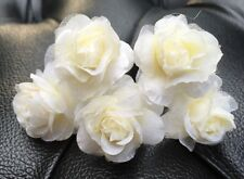 5 Bridal Wedding  Prom Ivory Rose Hair Pins Clips handmade