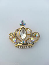 SMALL GOLD CROWN CLEAR AURORA BOREALIS DIAMANTE ALLOY CRYSTAL RHINESTONE BROOCH