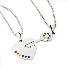 Rainbow Pride Steel Heart and Key Pendant Set