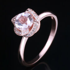 925 Sterling Sliver Morganite Pave Diamonds Jewelry Engagement Wedding Fine Ring
