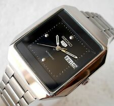 SEIKO 5 AUTOMATIC WIND SQUARE BLACK DIAL DAY DATE STEEL CASUAL MENS WATCH 35MM