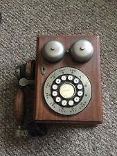 ANTIQUE VINTAGE RETRO WOODEN WALL PHONE WITH PUSH BUTTON DIALING