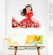 Wall Stickers Kids Room Cartoon Girl Flower Garden Listening to Nature's Music
