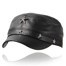 H22 Mens motorcycle leather hat star studded BIKER Cadet Military cap