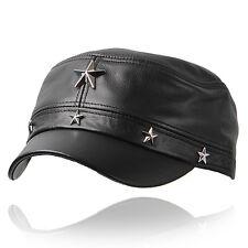 Genuine Leather hat cadet cap biker motorcycle star studded