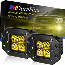 DuraFlux 60W CREE LED Yellow Pod Work Fog Light for Truck ATV Dually Flush Mount