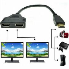 1080P HDMI 1 Male to 2 Female Splitter Adapter Cable 30cm High Quality-UK Seller