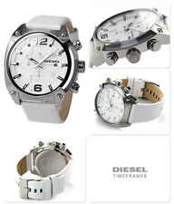 NWT Diesel Unisex Chronograph Overflow White Leather Strap Watch 54x49mm DZ4315