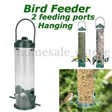 2 Feeding Ports Green Hanging Wild Bird Seed Feeder Hanger Perch Peanut Garden