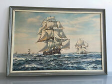 ROY CROSS SEASCAPE PRINT ' A 40-GUN ROYAL NAVY FRIGATE AND A CUTTER ' 1805 - VR
