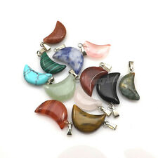 24pcs Crescent Moon Shape Semi-precious Stone Pendant For Necklace DIY Mixed Lot