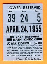 1955 BALT ORIOLES/WASH SENATORS TICKET STUB-DOUBLEHEADER-4/24/55