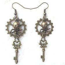 Bronze Gear Mini Octopus Key Charm Earrings Handmade Steampunk US Seller