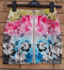 H&M MULTI COLOR FLORAL ZIP FRONT DENIM TUBE BODYCON SUMMER SKIRT 6 XS