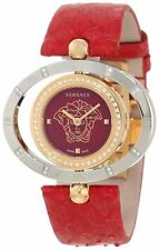Versace Women's 91Q89FD800 S800 Eon Ellipse DIAMONDS Gold IP Steel Leather Watch
