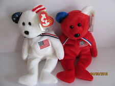 NWT TY BEANIE BABY AMERICA X 2 WHITE BEAR AND RED BEAR