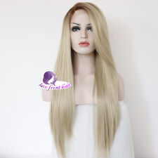 """22""""New Blonde Long Straight Party Wig Women Design Popular Lace Front Hair Wig"""