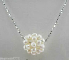 New Pretty 14mm White Freshwater Pearl Ball Pendant Necklace Chain 17''