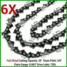 "6X CHAINSAW CHAIN FULL CHISEL 3/8 063 72DL FOR 066 MS660 034 038 STIHL 20"" BAR"
