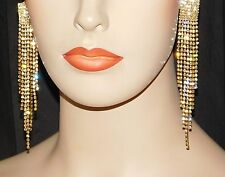 "Gold Clip Earrings With Clear Rhinestone Crystal Bridal 4.1/2"" Long"