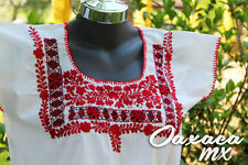 032 Womens Hand Embroidered Mexican White Red Flowers Blouse Oaxaca Boho Hippie