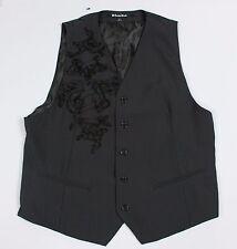 Carbon Black Mens Large Pinstripe Embellished Vest Waistcoat V33