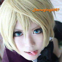 Blonde Bob Wig Cosplay Butler Alois Trancy Costume Short Straight Hair Men's Wig