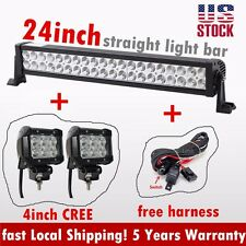 24inch Led light bar + 4inch Cree Led Work Light Flood + harness Offroad SUV ATV