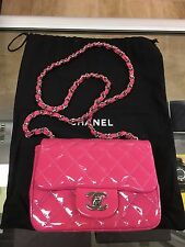 CHANEL Patent Leather Pink Quilted Fuchsia Mini Classic Flap Bag Purse - MINT