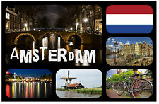 AMSTERDAM - SOUVENIR NOVELTY FRIDGE MAGNET - BRAND NEW - GIFT / XMAS / B/DAY
