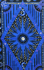 BRIGHT BLUE Tapestry Sun moon Bedsheet picnic Throw Wall Hanging Gypsy Bedspread