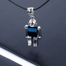 Mens Unisex Stainless Steel Pendant Military Necklace Blue Robot L22