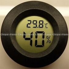 1PCS Digital LCD Cigar Humidor Hygrometer Thermometer Round Black Face