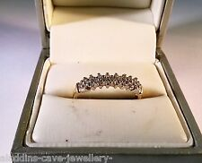 VINTAGE BEAUTIFUL LADIES 9ct GOLD DIAMOND BAND RING SIZE N 1.68 GRAMS