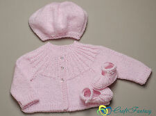 New hand knitted baby girl sparkle rose cardigan béret et chaussures set 0-6 mois