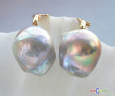 P4157 19MM GRAY ALMOST ROUND KESHI PEARL CLIP EARRING  (no stud)