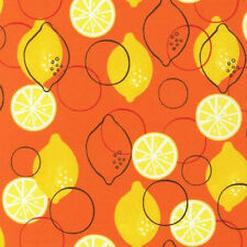 Robert Kaufman Metro Market Lemons Fabric in Orange by Monaluna 1 yd