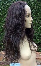 dark brown wavy curly frizzy puffy 3/4 half head long hair wig fancy dress