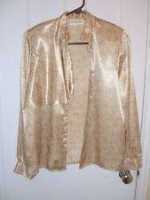 VTG 80s Women BLOUSE Top Beige&White Satin Polyester Long Sleeve Size 4