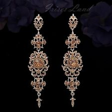 Rose Gold Plated Peach Crystal Rhinestone Chandelier Drop Dangle Earrings 00097